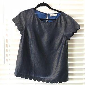 Denim Vinyard Vines short sleeve blouse size 6